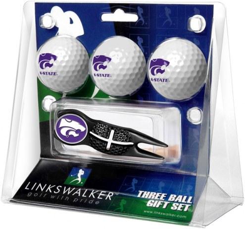 Kansas State Wildcats Black Crosshair Divot Tool & 3 Golf Ball Gift Pack