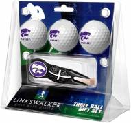 Kansas State Wildcats Black Crosshair Divot Tool & 3 Golf Ball Gift Pack