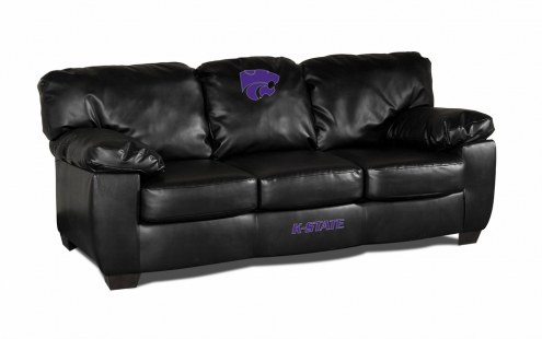 Kansas State Wildcats Black Leather Classic Sofa