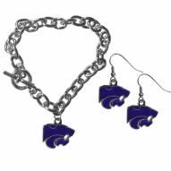Kansas State Wildcats Chain Bracelet & Dangle Earring Set