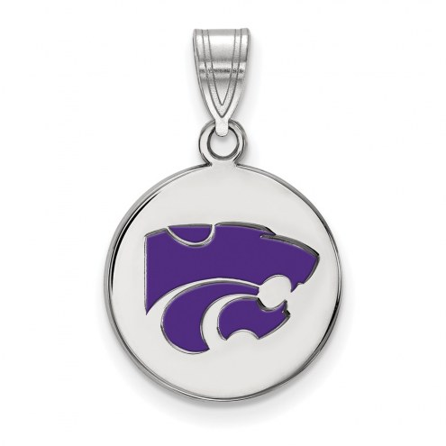 Kansas State Wildcats Sterling Silver Medium Enameled Disc Pendant