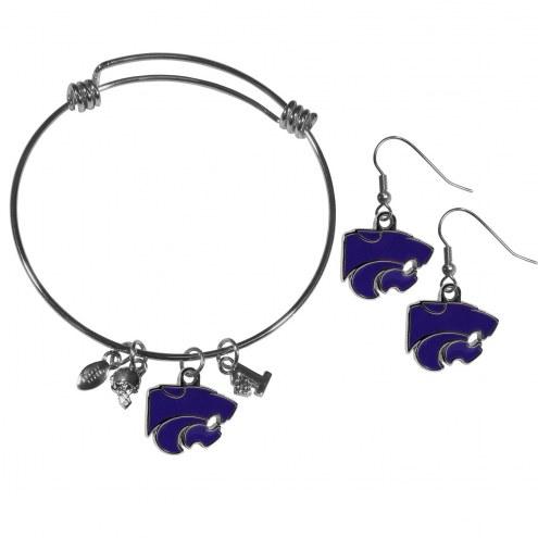 Kansas State Wildcats Dangle Earrings & Charm Bangle Bracelet Set