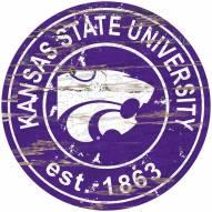 Kansas State Wildcats Distressed Round Sign