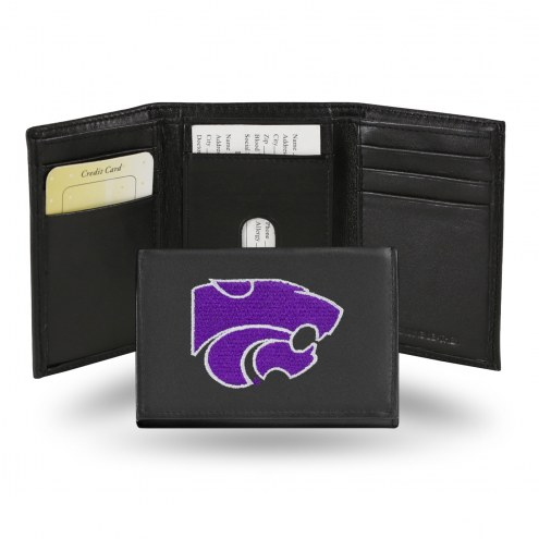 Kansas State Wildcats Embroidered Leather Tri-Fold Wallet