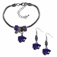 Kansas State Wildcats Euro Bead Earrings & Bracelet Set