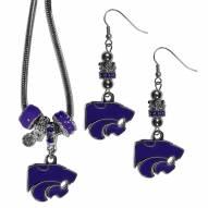 Kansas State Wildcats Euro Bead Earrings & Necklace Set