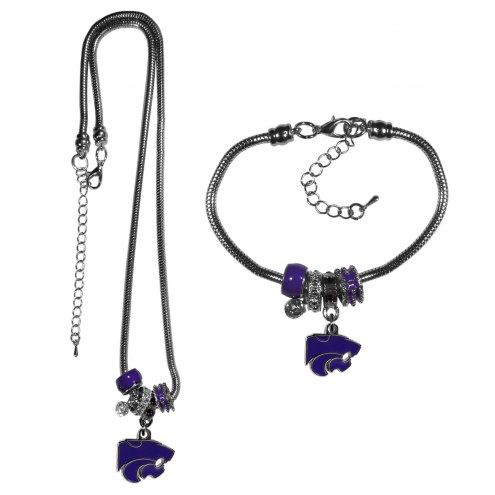Kansas State Wildcats Euro Bead Necklace & Bracelet Set