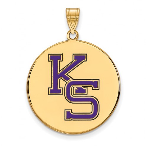 Kansas State Wildcats Sterling Silver Gold Plated Extra Large Enameled Disc Pendant