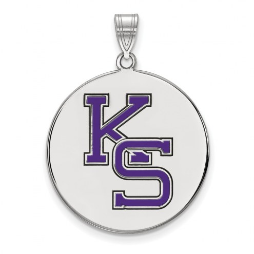 Kansas State Wildcats Sterling Silver Extra Large Enameled Disc Pendant