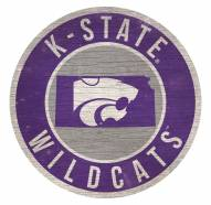 Kansas State Wildcats Round State Wood Sign