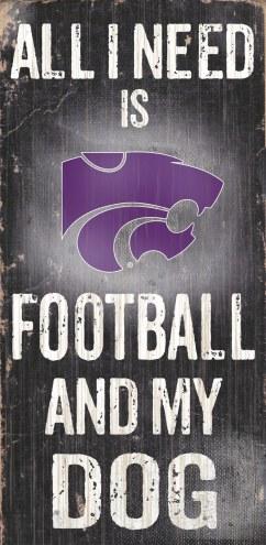 Kansas State Wildcats Football & Dog Wood Sign