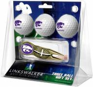 Kansas State Wildcats Gold Crosshair Divot Tool & 3 Golf Ball Gift Pack
