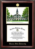 Kansas State Wildcats Gold Embossed Diploma Frame with Campus Images Lithograph