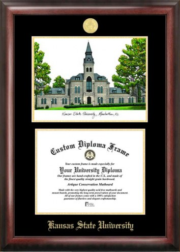 Kansas State Wildcats Gold Embossed Diploma Frame with Lithograph
