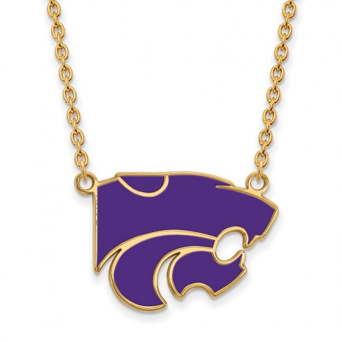 Kansas State Wildcats Sterling Silver Gold Plated Large Enameled Pendant Necklace