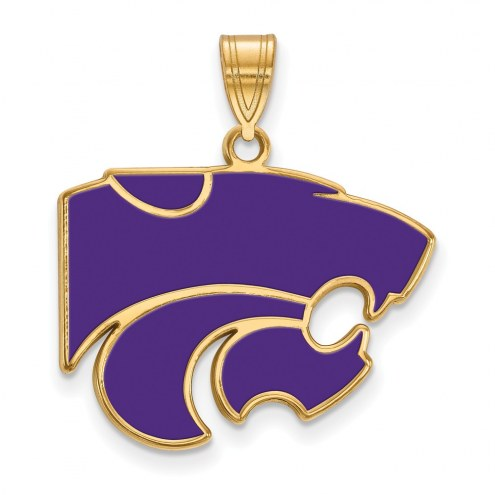 Kansas State Wildcats Sterling Silver Gold Plated Large Enameled Pendant