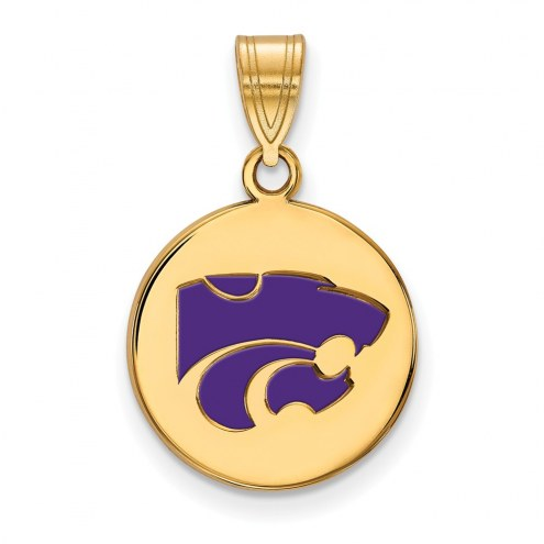 Kansas State Wildcats Sterling Silver Gold Plated Medium Enameled Disc Pendant