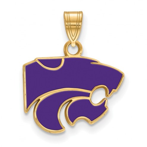 Kansas State Wildcats Sterling Silver Gold Plated Small Enameled Pendant