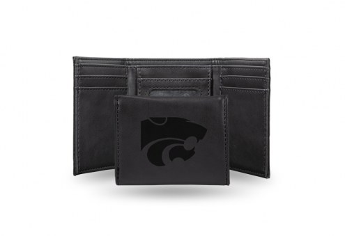 Kansas State Wildcats Laser Engraved Black Trifold Wallet