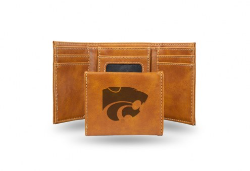Kansas State Wildcats Laser Engraved Brown Trifold Wallet
