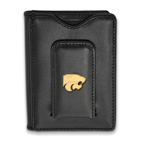Kansas State Wildcats NCAA Sterling Silver Gold Plated Black Leather Wallet