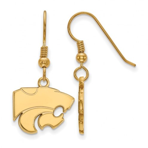 Kansas State Wildcats NCAA Sterling Silver Gold Plated Small Dangle Earrings