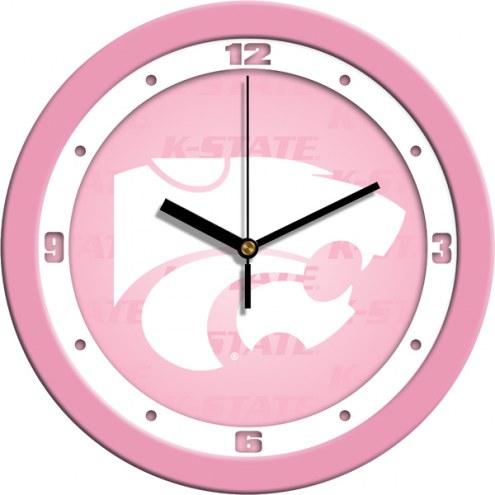 Kansas State Wildcats Pink Wall Clock