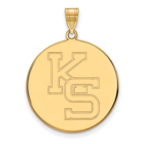 Kansas State Wildcats Sterling Silver Gold Plated Extra Large Disc Pendant