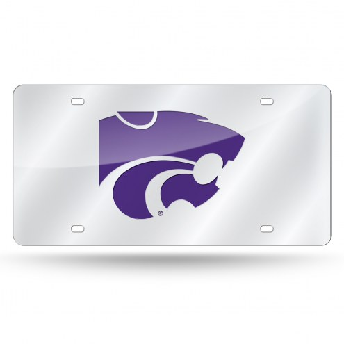 Kansas State Wildcats Silver Laser Cut License Plate
