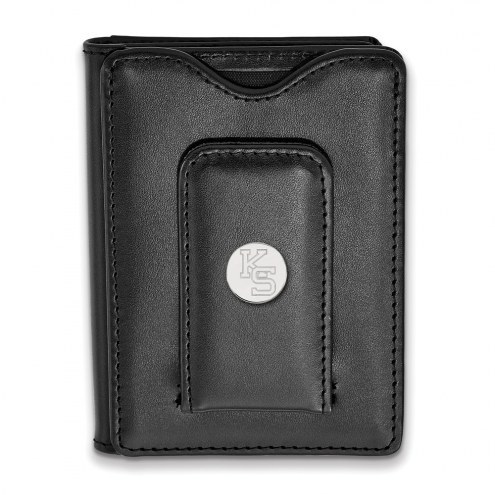 Kansas State Wildcats Sterling Silver Black Leather Wallet