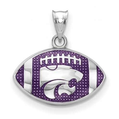Kansas State Wildcats Sterling Silver Enameled Football Pendant