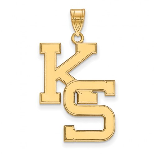 Kansas State Wildcats Sterling Silver Gold Plated Extra Large Pendant