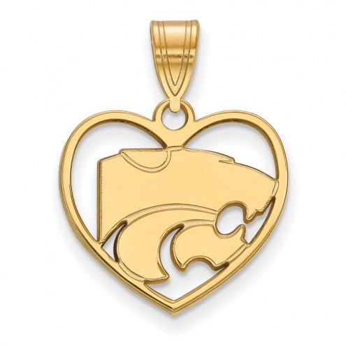 Kansas State Wildcats Sterling Silver Gold Plated Heart Pendant