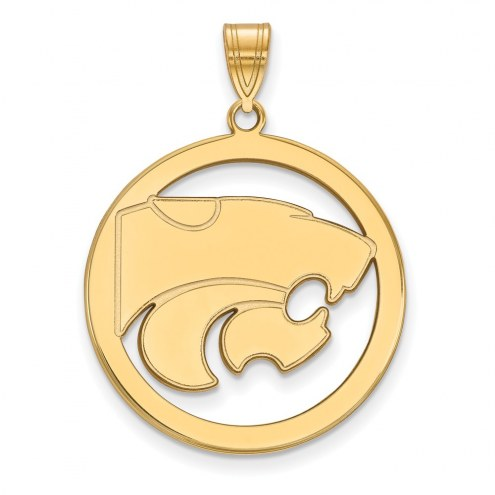Kansas State Wildcats Sterling Silver Gold Plated Large Circle Pendant
