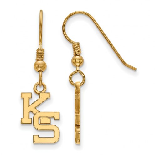 Kansas State Wildcats Sterling Silver Gold Plated Small Dangle Earrings