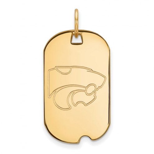 Kansas State Wildcats Sterling Silver Gold Plated Small Dog Tag
