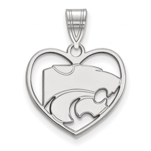 Kansas State Wildcats Sterling Silver Heart Pendant