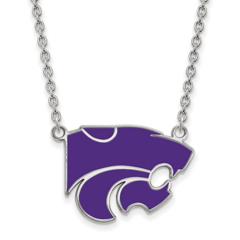 Kansas State Wildcats Sterling Silver Large Enameled Pendant Necklace