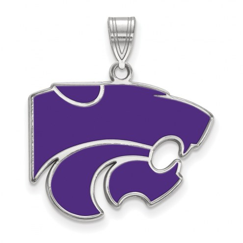 Kansas State Wildcats Sterling Silver Large Enameled Pendant