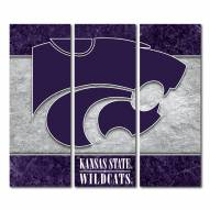 Kansas State Wildcats Triptych Double Border Canvas Wall Art