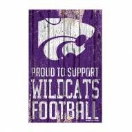 Kansas State Wildcats Proud to Support Wood Sign