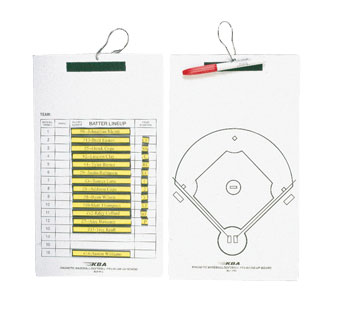 KBA Magnetic Baseball / Softball Line-Up Coaches Clipboard