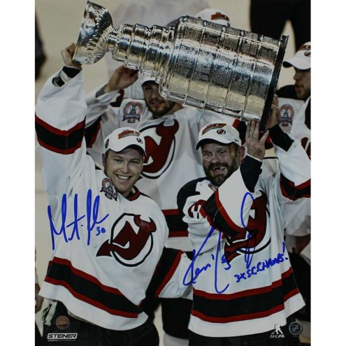 """Ken Daneyko/Martin Brodeur Dual Signed 'Raising the Cup' 8x10 Photo w/ """"3x SC Champs 95-00-03"""" Insc By Daneyko"""