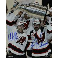 """Ken Daneyko/Martin Brodeur Dual Signed 'Raising the Cup' 8 x 10 Photo w/ """"3x SC Champs 95-00-03"""" Insc By Daneyko"""