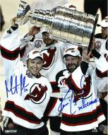 """Ken Daneyko/Martin Brodeur Dual Signed 'Raising the Cup' 8x10 Photo w/ """"3x SC Champs"""" Insc By Daneyko"""