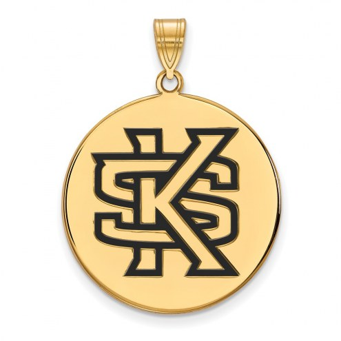 Kennesaw State Owls Sterling Silver Gold Plated Extra Large Enameled Disc Pendant