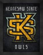 Kennesaw State Owls Retro Logo Map Framed Print