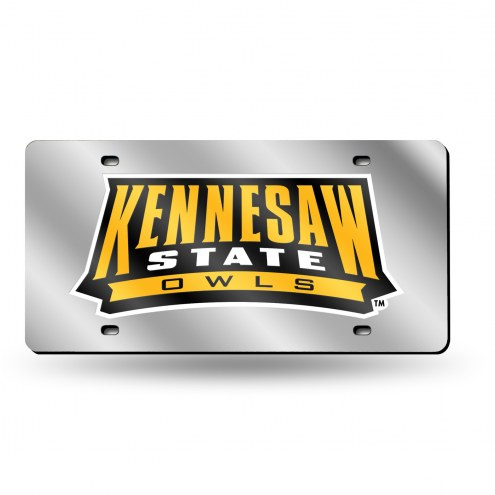 Kennesaw State Owls Silver Laser License Plate