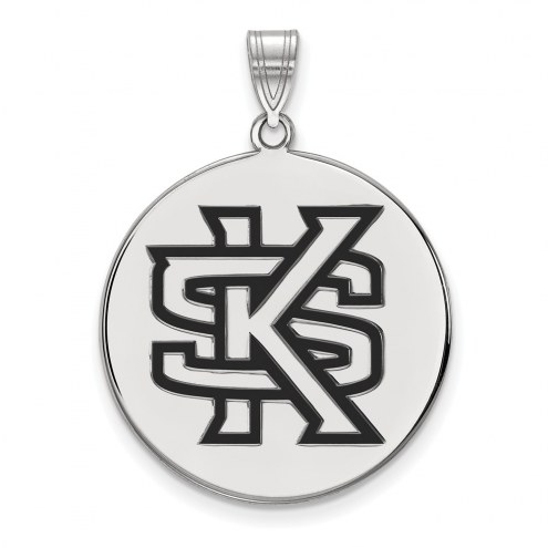 Kennesaw State Owls Sterling Silver Extra Large Enameled Disc Pendant