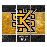 Kennesaw State Owls Triptych Double Border Canvas Wall Art